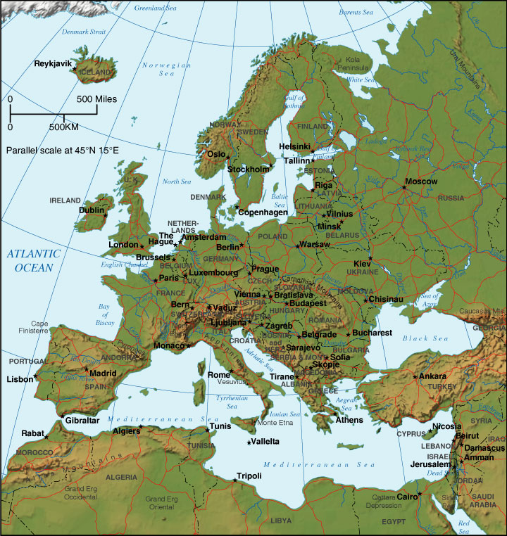 map europe - relief map of europe