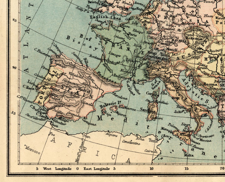 1871 map of europe. southwest europe map
