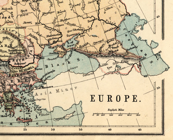 1871 map of europe. Antique Europe Map - Old Map